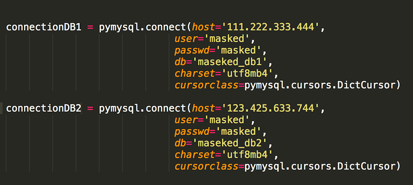 Connecting to two databases with pymysql